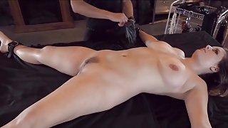 Bound bdsm hottie gets her juggs clamped and fucked with dildo