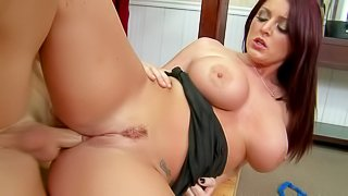 Sophie Dee has amazing body. Johnny Sins is the one who gives her huge boobs and sexy ass a try. He bangs her mouth and massive jugs before stockings his dick in her anal hole