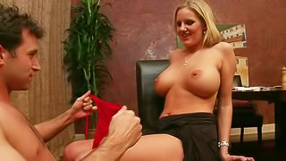Blond woman Zoey Holiday is a porn scrip writer with amazing big tits. She turns on her daughters boyfriend James Deen. He cant stop eating her mature pussy and fucking her mouth