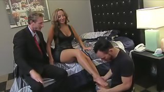 Big tits wife Richelle Ryan with stunning legs bares her assets and gets her juicy pussy licked by another guy in front of her husband in cuckold threesome. Richelle Ryan loves getting shared
