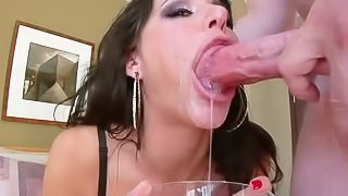 Brunette Gia DiMarco with rich make-up has cum in her eyes after deep throat job. She takes meaty dick deep down her throat over and over again. And then she plays with sperm