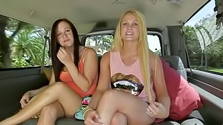 Sexy girls a blonde and brunette get picked up by horny lads in a van and enjoy in getting a ride, showing their sexy long legs as they sit and talk about various things